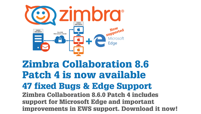 Tips & Tricks : Zimbra 8 6 Patch4 (Edge Support) - ilger com